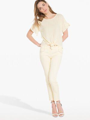 Pantalon enduit leger jaune clair femm