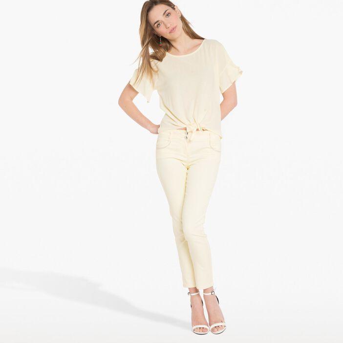 Pantalon enduit léger  jaune clair femme