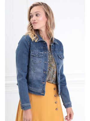 Veste cintree en jean denim brut femme