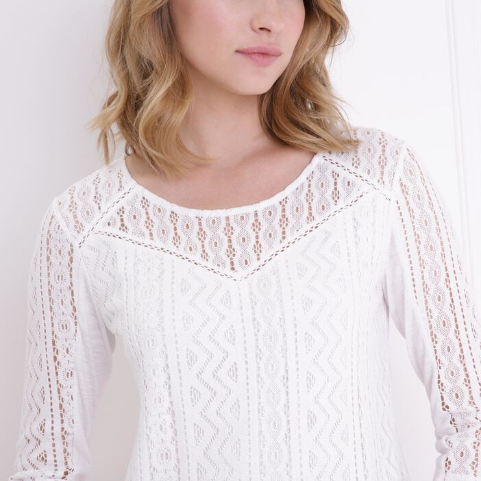 T-shirt bimatière col rond manches 3/4 ecru femme