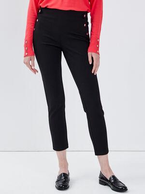 Pantalon tregging taille haute noir femme