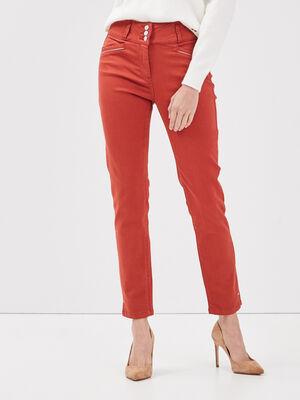 Pantalon ajuste taille haute orange fonce femme