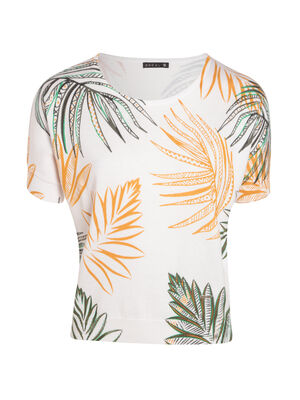 T shirt imprime palme manches courtes vert kaki femm