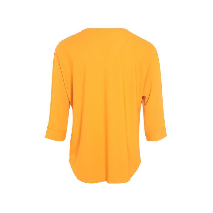 T-shirt manches 3/4 col en V jaune moutarde femme