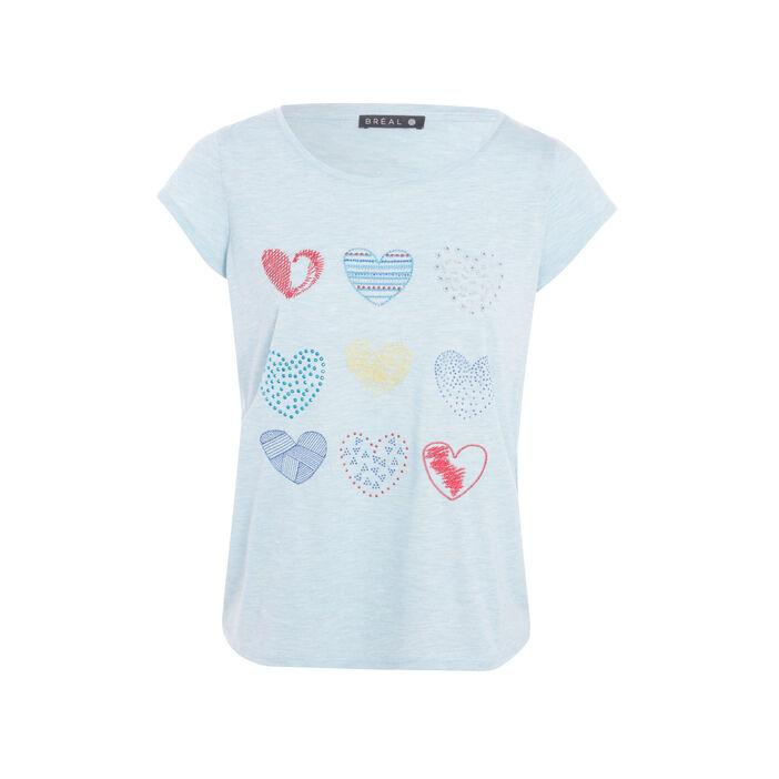 T-shirt col rond imprimé coeurs bleu femme