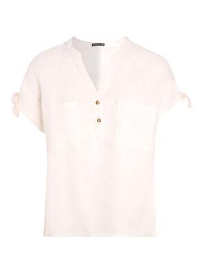 Chemise manches courtes lin ivoire femme