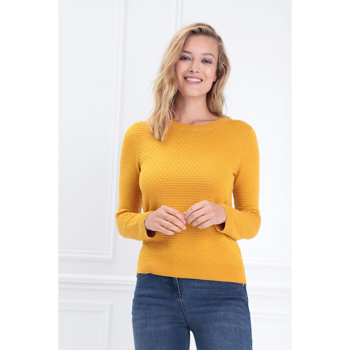Pull manches longues col rond jaune or femme