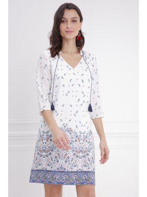 Robe droite imprime detail pompons blanc femme