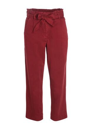 Pantalon Paper bag CHINO rouge fonce femme