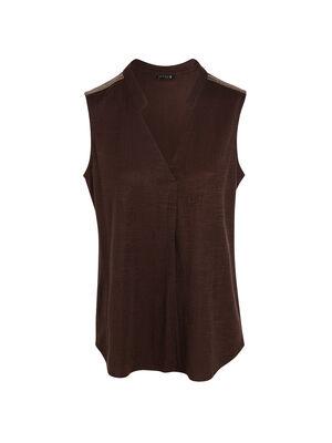T shirt sans manche marron fonce femme
