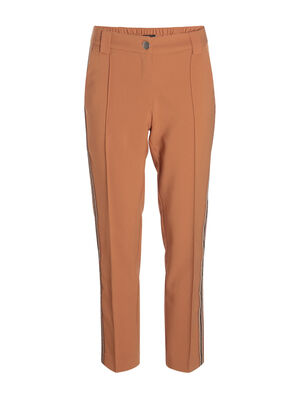 Pantalon carotte taille haute camel femme