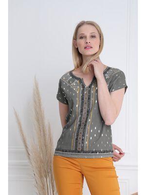 T shirt manches courtes vert kaki femme