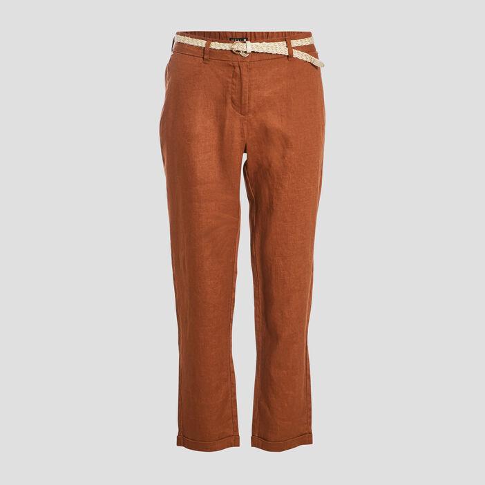 Pantalon chino taille basculée marron cognac femme