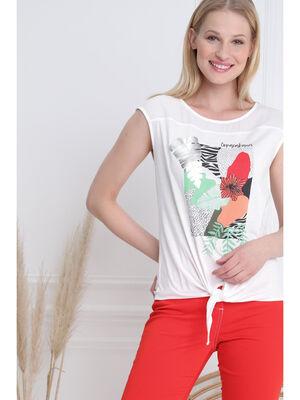 T shirt manches courtes voile ecru femme