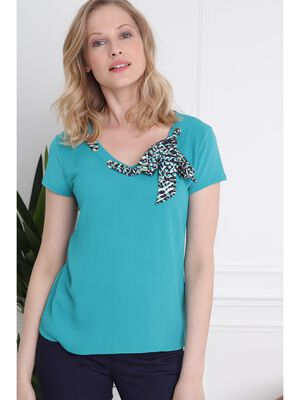 T shirt manches courtes col foulard vert turquoise femme