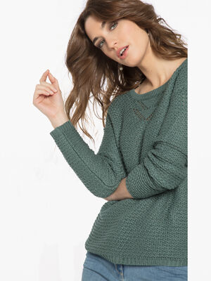 Pull maille fantaisie boutons vert fonce femme