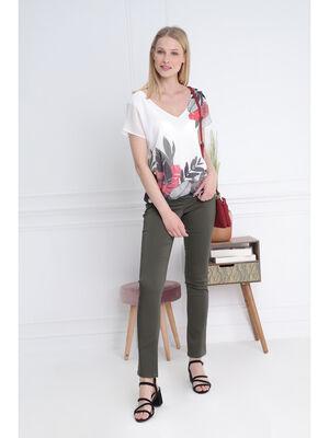 Pantalon ajuste zip poches vert kaki femme