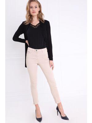Pantalon ajuste taille haute beige femme