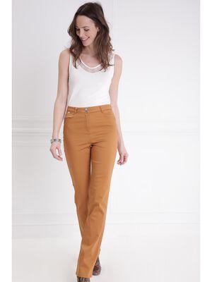 Pantalon droit taille haute camel femme