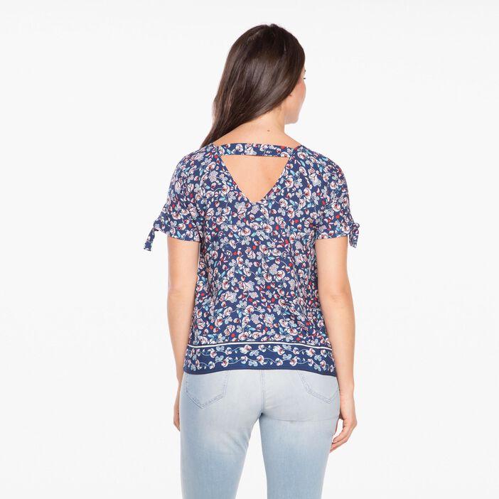 Blouse à manches courtes imprimé floral bleu marine femme
