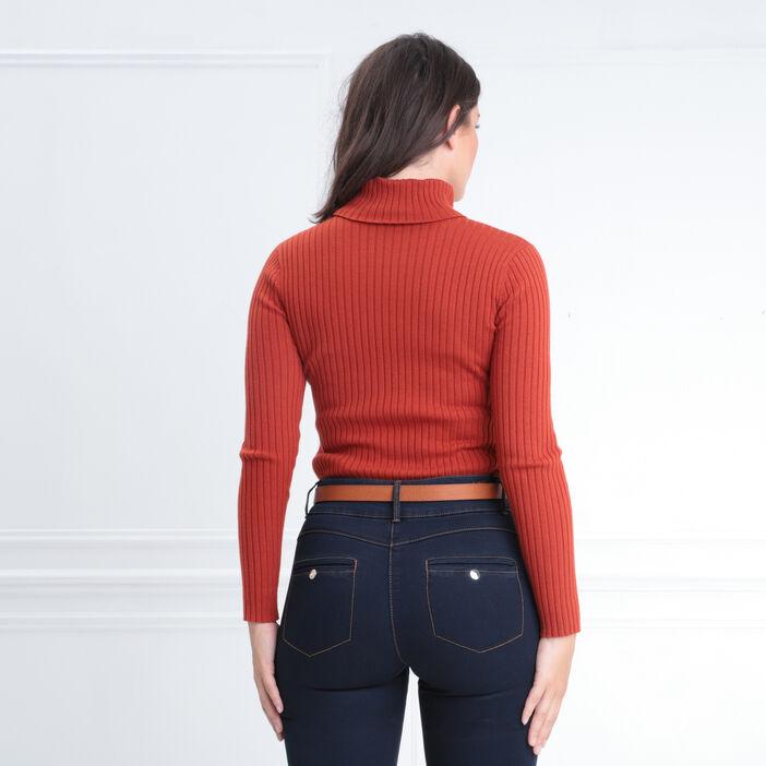 Pull manches longues col roulé orange foncé femme