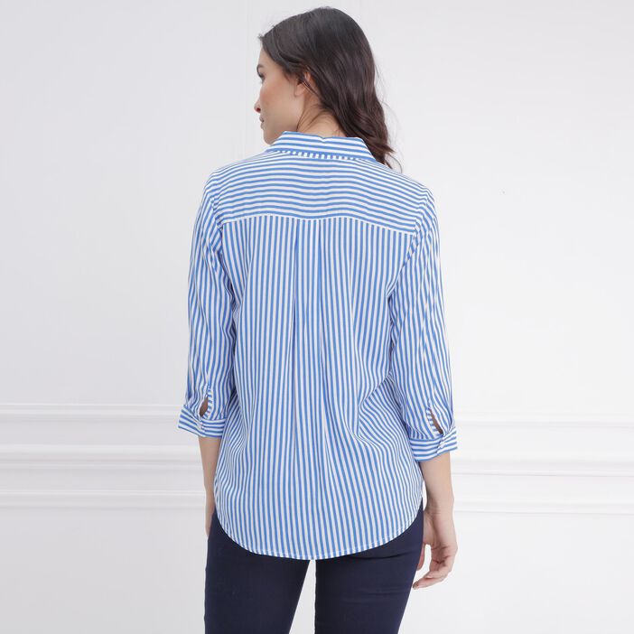 Chemise manches 3/4 bleu femme