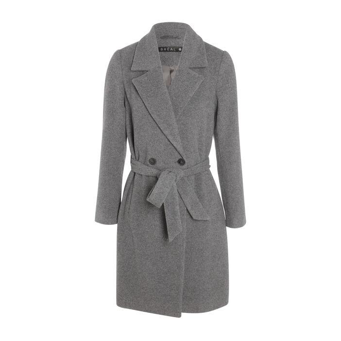 Manteau droit ceinturé gris clair femme