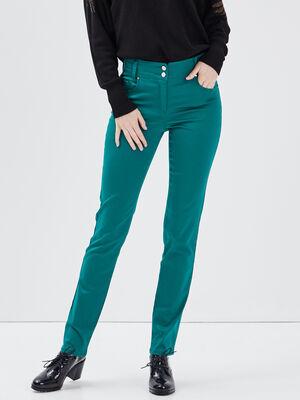 Pantalon ajuste vert emeraude femme