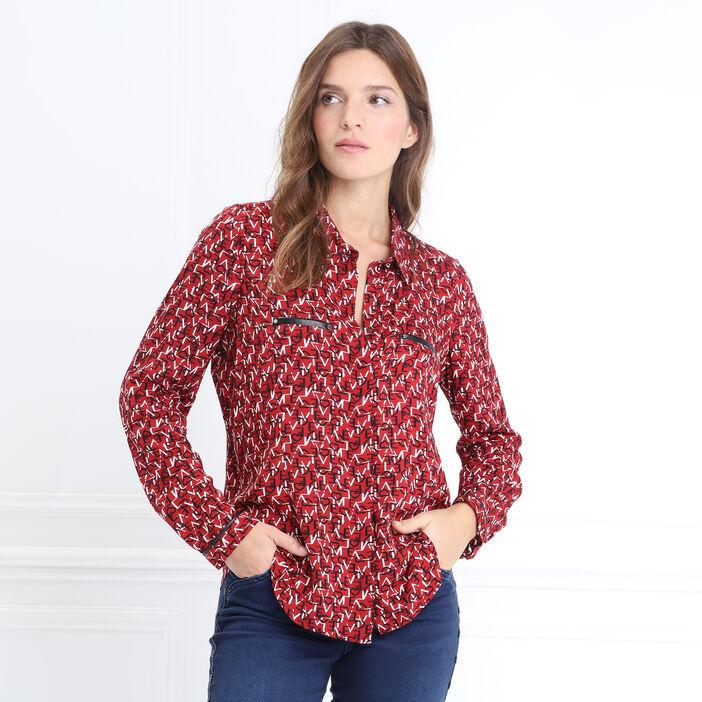 Chemise manches longues rouge foncé femme