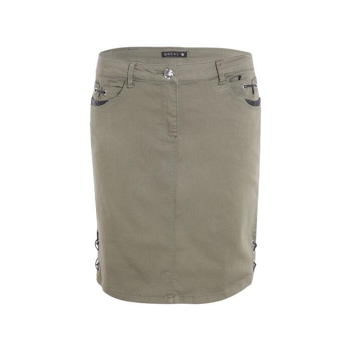 Jupe courte unie vert kaki femme