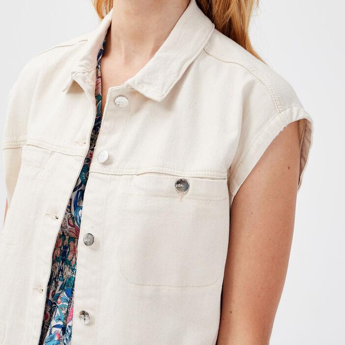 Veste droite en jean ecru femme