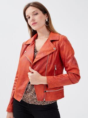 Veste esprit motard zippee orange fonce femme