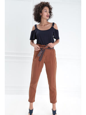 Pantalon taille haute ceinture marron cognac femme