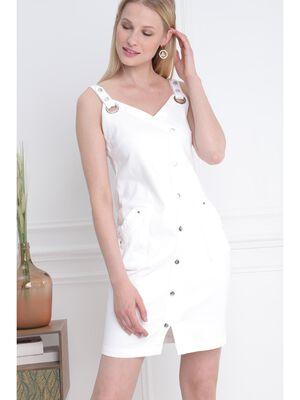 Robe ajustee a bretelles blanc femme