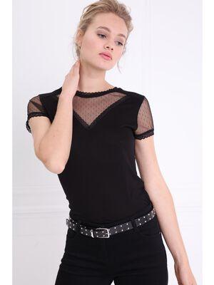 T shirt avec dentelle noir femme