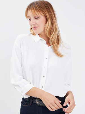 Chemise manches 34 ecru femme