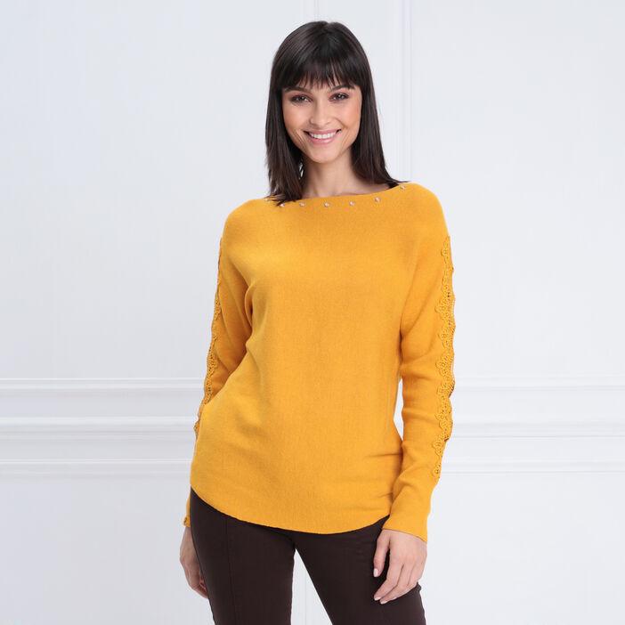 Pull manches longues macramé jaune or femme