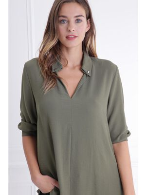 Chemise manches 34 vert fonce femme