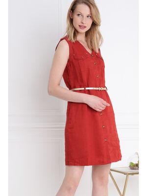 Robe courte ajustee a ceinture orange fonce femme