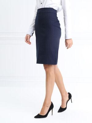 Jupe ajustee fendue bleu marine femme