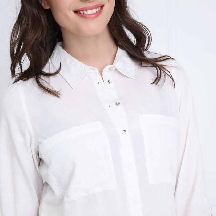 Chemise manches longues coton ecru femme