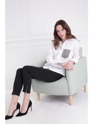 Chemise droite avec empiecement ecru femme