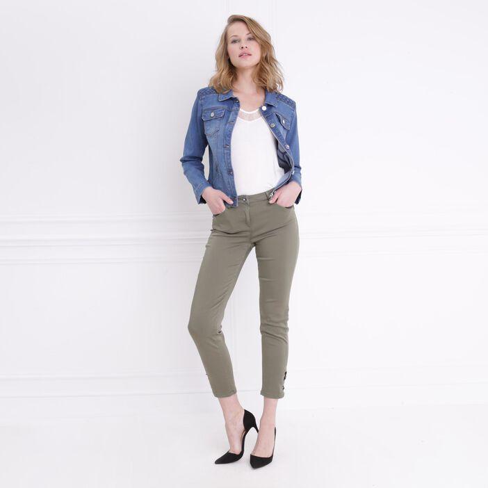 Pantalon ajusté taille basculée vert kaki femme