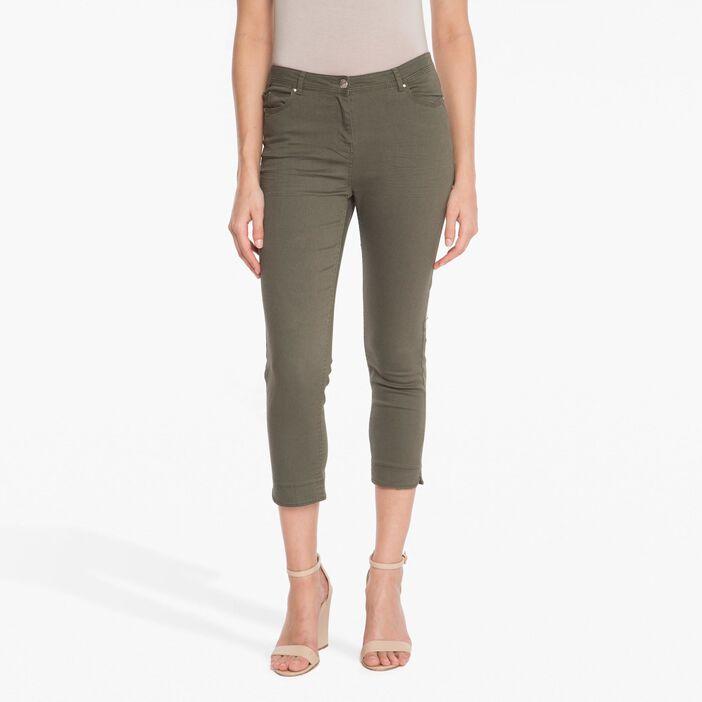 Pantalon 7/8ème ajusté taille basculée vert foncé femme