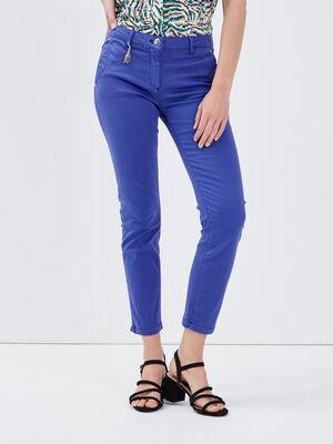 Pantalon chino ajuste bleu femme