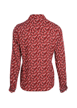 Chemise manches longues rouge fonce femme