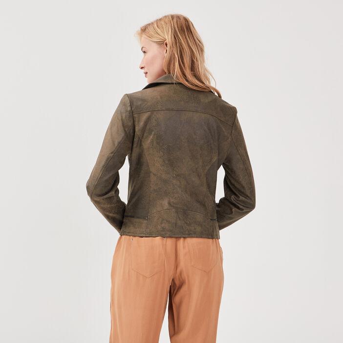 Veste esprit motard zippée vert kaki femme