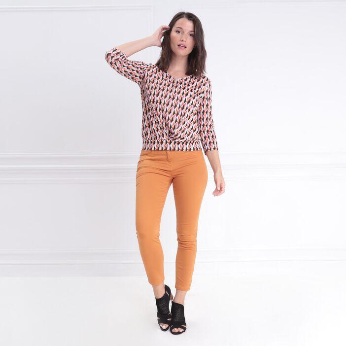 T-shirt manches 3/4 croisé multicolore femme