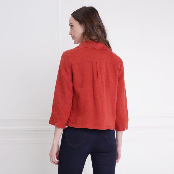 Veste fluide courte à pans orange foncé femme