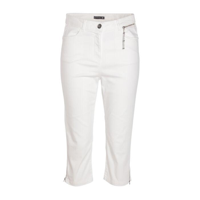 Pantacourt droit poche zippée ecru femme